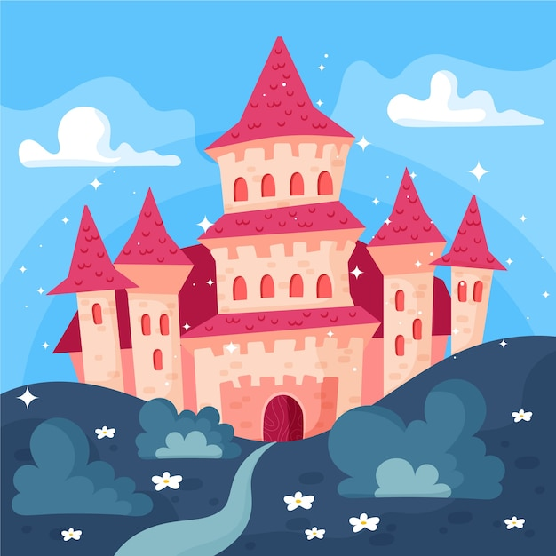 Conceito de castelo de conto de fadas Vetor grátis