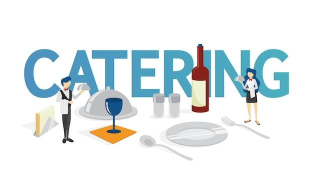 Conceito de catering. ideia de serviço de alimentação no hotel. evento em restaurante, banquete ou festa. ilustração Vetor Premium