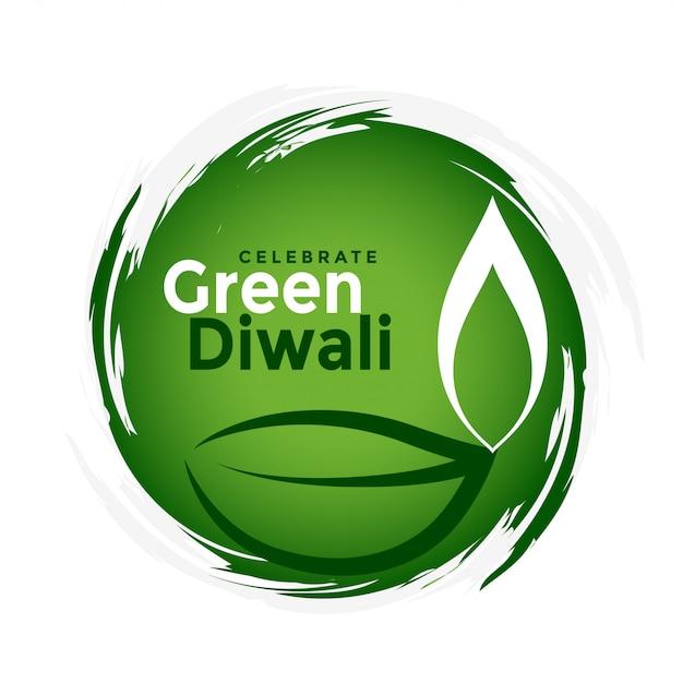 Conceito de celebração festival diwali verde orgânico Vetor grátis