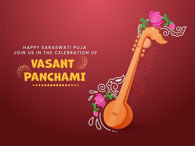 Conceito de celebração vasant panchami feliz com instrumento veena e floral Vetor Premium