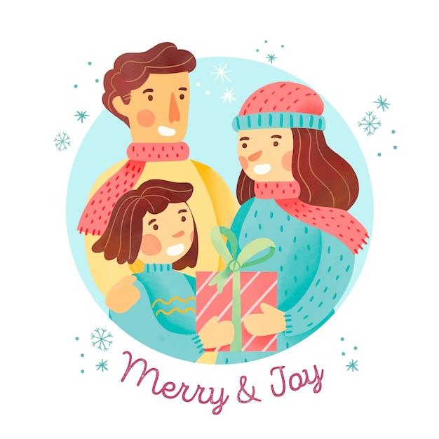 Conceito de cena familiar de natal em aquarela Vetor grátis