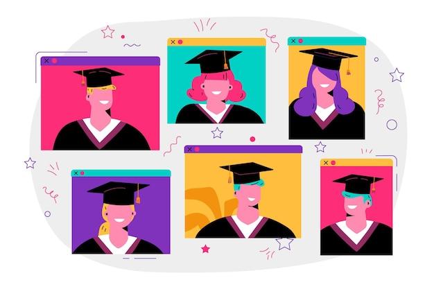 Conceito de cerimônia de graduação virtual Vetor grátis