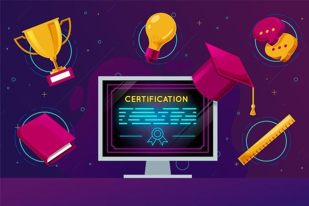 Conceito de certificação online Vetor grátis