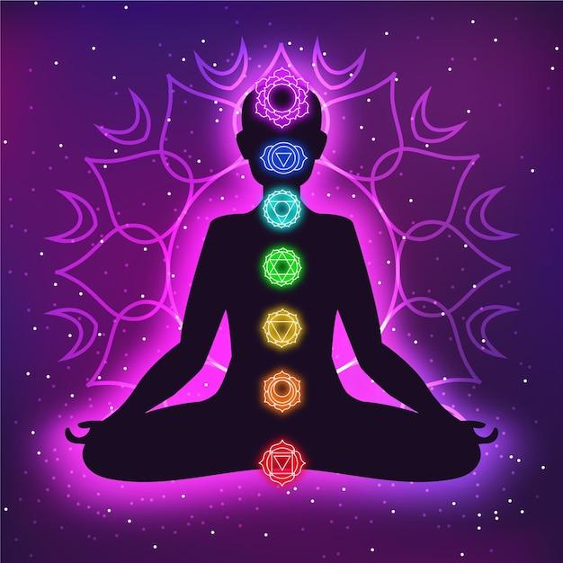 Conceito de chakras com mandala Vetor Premium
