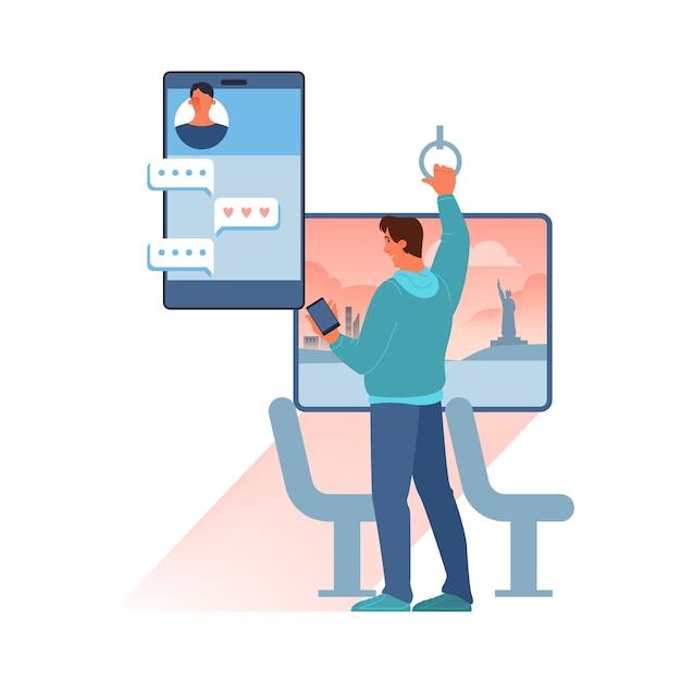 Conceito de chat online. homem envia mensagem na internet. comunicação por rede no smartphone. Vetor Premium