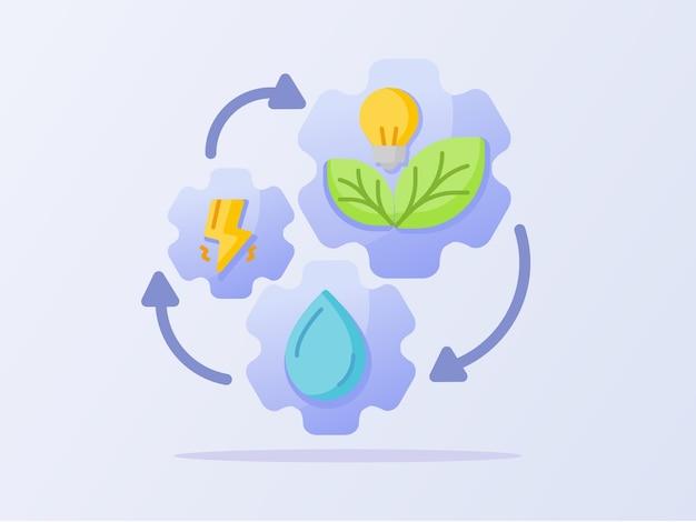 Conceito de ciclo de energia limpa gota d'água relâmpago Vetor Premium