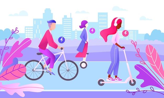 Conceito de cidade inteligente. adolescentes dirigindo transporte elétrico. personagens andando de bicicleta, scooter, hoverboard na estrada na cidade. transporte ecológico. Vetor Premium