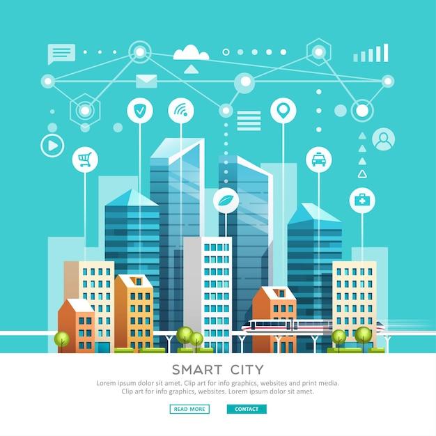 Conceito de cidade inteligente com diferentes ícones e elementos. Vetor Premium