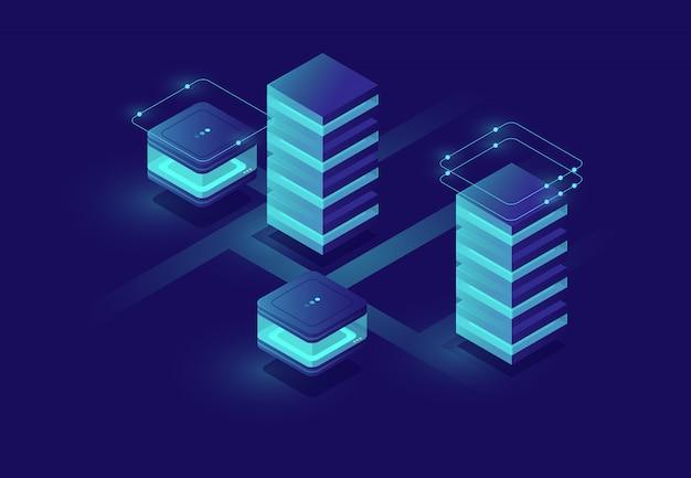 Conceito de cidade urbana inteligente com sala de servidor e ícones de banco de dados, data center e banco de dados Vetor grátis