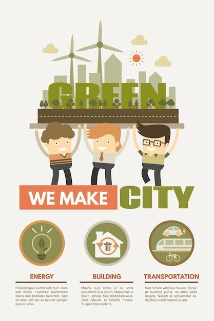 Conceito de cidade verde para energia verde Vetor Premium