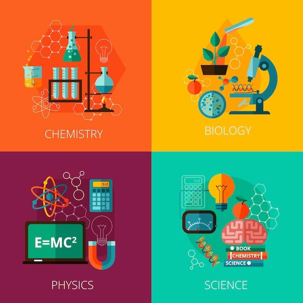 Conceito de ciência 4 ícones de composição de ícone plana Vetor grátis