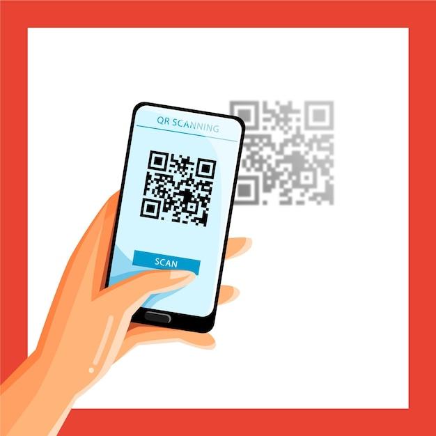 Conceito de código qr de digitalização em smartphone Vetor grátis