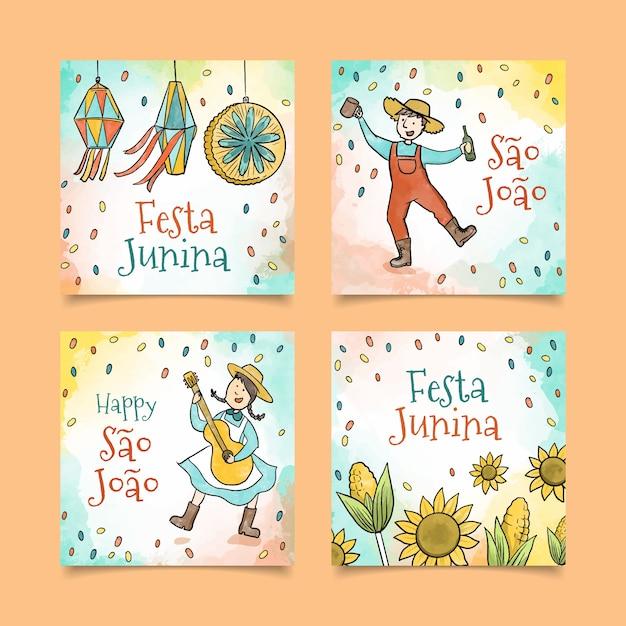 Conceito de coleção de cartão festa junina aquarela Vetor grátis