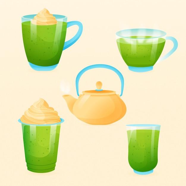 Conceito de coleção de chá matcha Vetor grátis