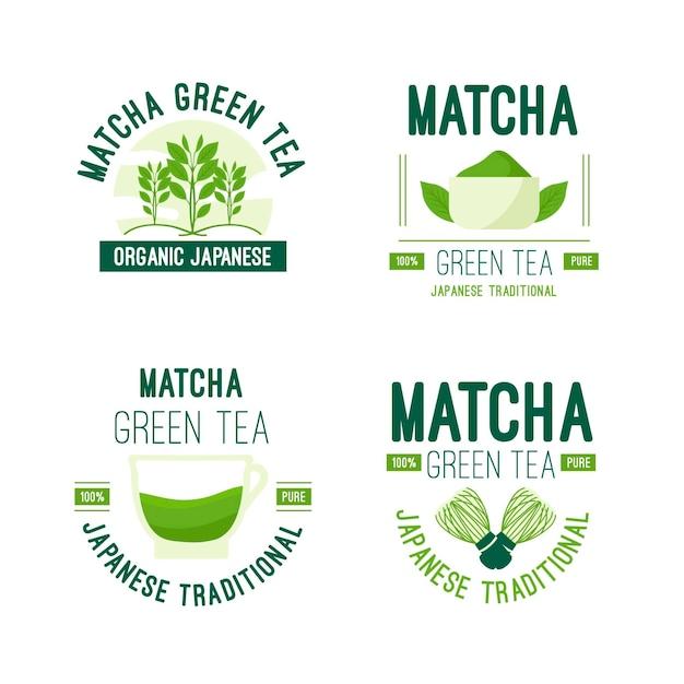 Conceito de coleção de distintivo de chá matcha Vetor grátis
