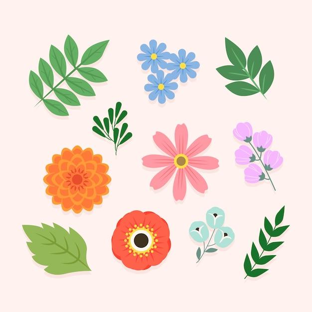 Conceito de coleção de flores de primavera colorida Vetor grátis