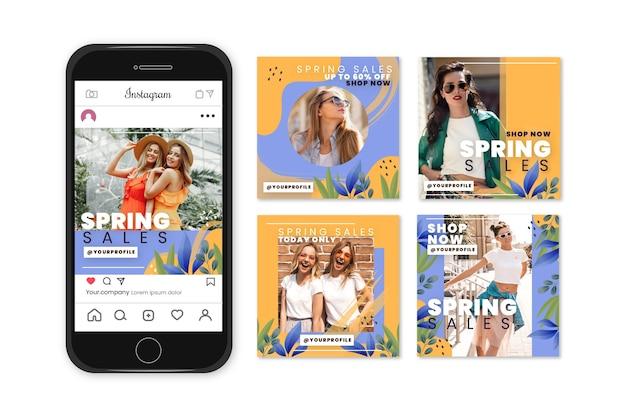 Conceito de coleção de história de instagram de venda de primavera Vetor grátis