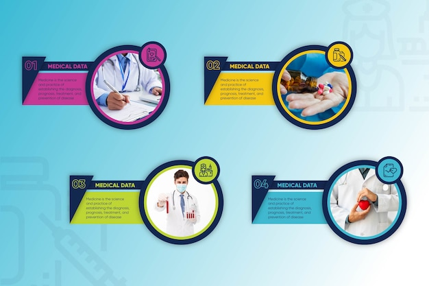 Conceito de coleção de infográfico médica Vetor grátis