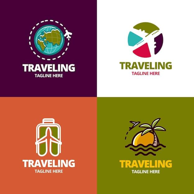 Conceito de coleção de logotipo de viagens Vetor Premium