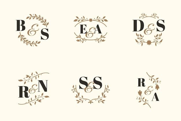 Conceito de coleção de monograma elegante casamento Vetor Premium