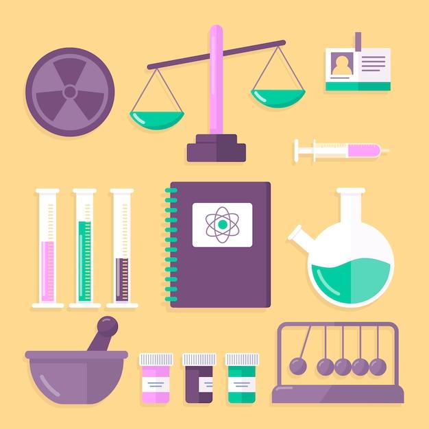 Conceito de coleção de objetos de laboratório de ciências Vetor grátis