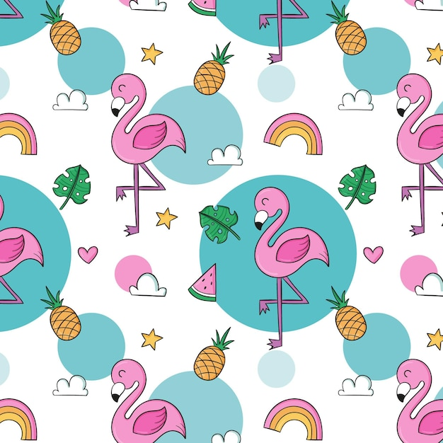 Conceito de coleção de padrão de flamingo Vetor Premium