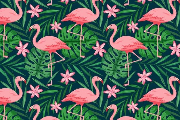 Conceito de coleção de padrão de flamingo Vetor grátis