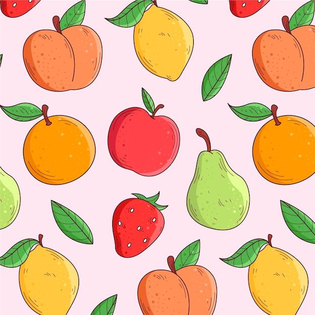 Conceito de coleção de padrão de frutas Vetor grátis