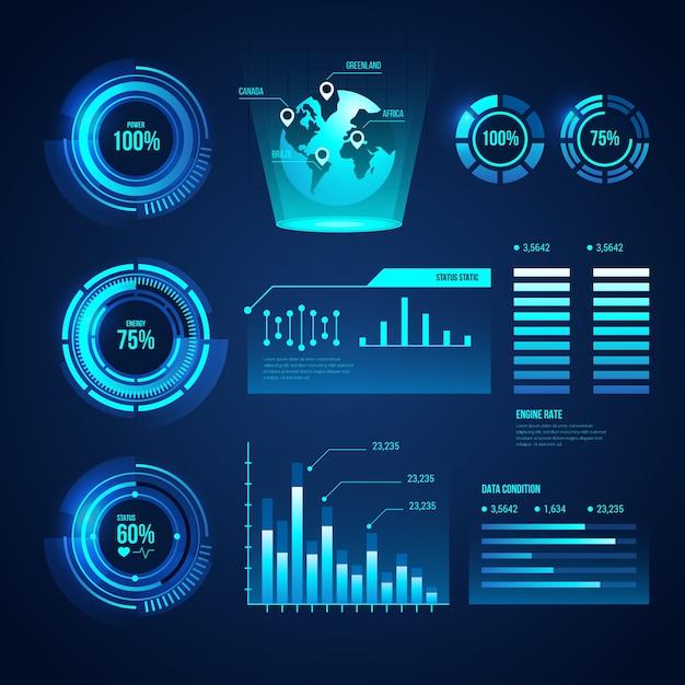 Conceito de coleção infográfico futurista Vetor grátis