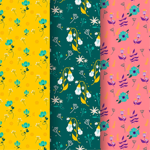 Conceito de coleção padrão primavera desenhados à mão Vetor grátis