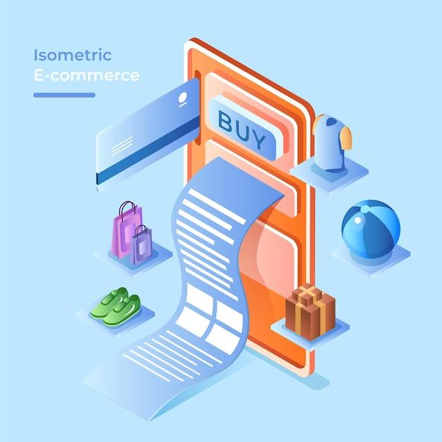 Conceito de comércio eletrônico isométrico com produtos Vetor grátis