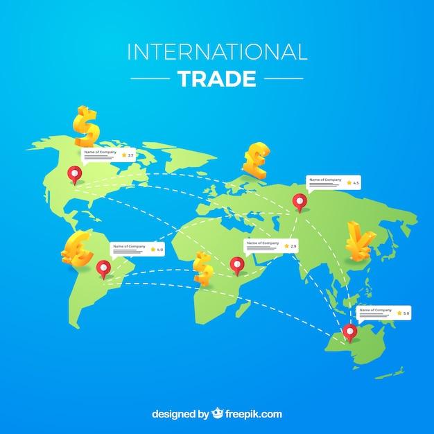 Conceito de comércio internacional com design plano Vetor grátis