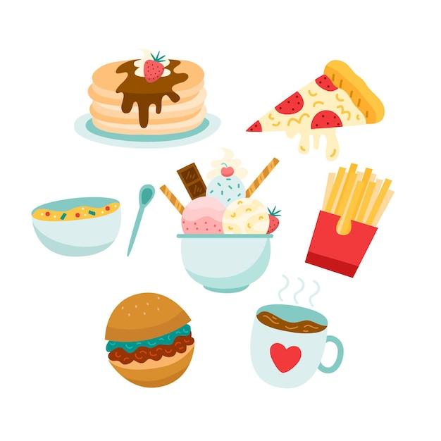 Conceito de comida reconfortante com fast food Vetor grátis