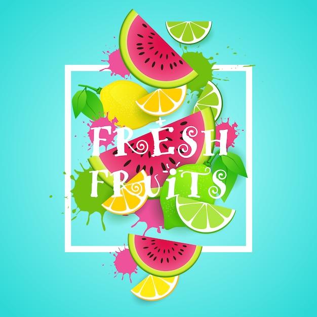 Conceito de comida saudável orgânica de ilustração de frutas frescas Vetor Premium