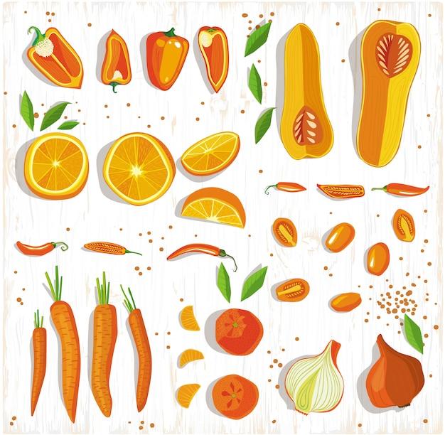 Conceito de comida saudável. teste padrão das frutas e legumes no fundo de madeira, vista superior. Vetor Premium