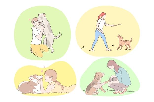 Conceito de companhia e amizade de cães. Vetor Premium