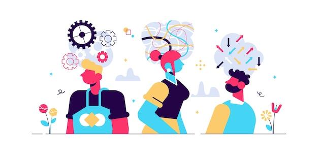 Conceito de comportamento de mente, ilustração vetorial de pessoas planas minúsculas. processo de pensamento interno abstrato e atividade emocional simbólica. tipos de personalidade e mentalidade. atitude pessoal e estilo de vida. Vetor Premium