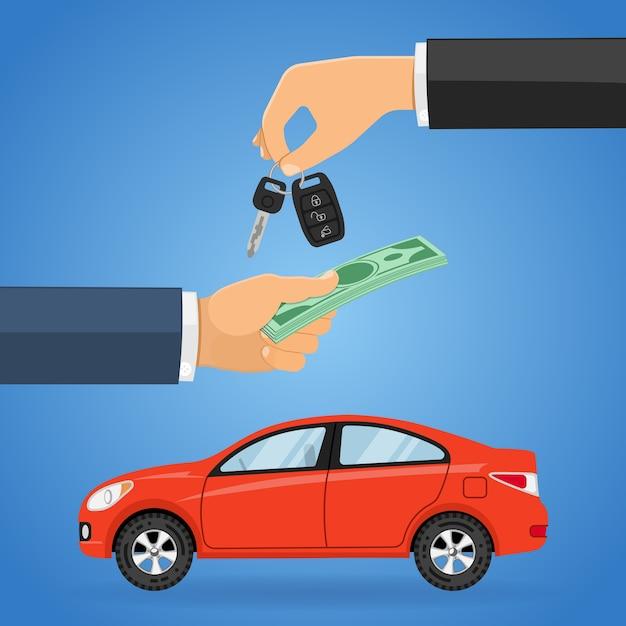 Conceito de compra, compra, compartilhamento ou aluguel de automóveis Vetor Premium