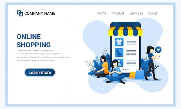 Conceito de compra on-line com móveis gigantes exibindo produtos de loja e personagens de mulher. Vetor Premium