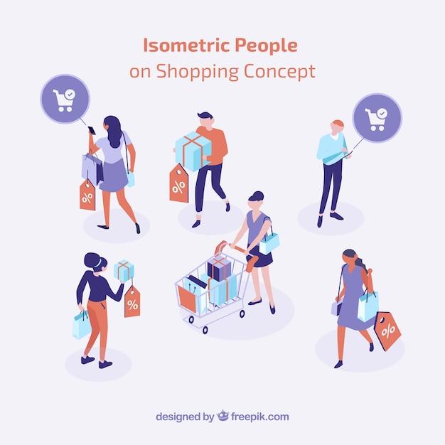 Conceito de compras isométrica com pessoas Vetor grátis