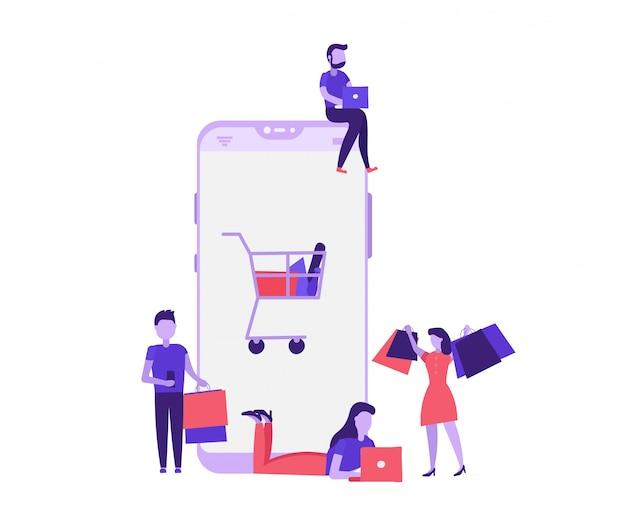Conceito de compras mobille com as pessoas Vetor Premium