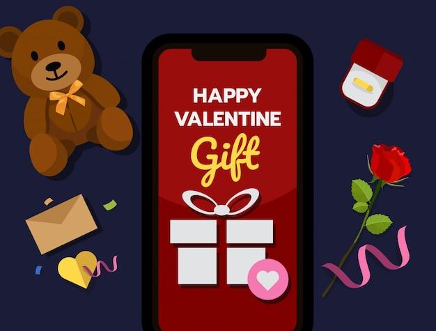 Conceito de compras on-line de valentine ™ Vetor Premium