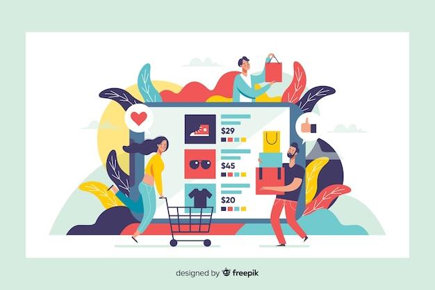Conceito de compras on-line para a página de destino Vetor grátis