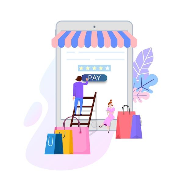 Conceito de compras on-line Vetor Premium
