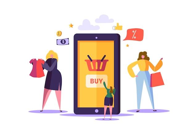 Conceito de compras online com personagens Vetor Premium
