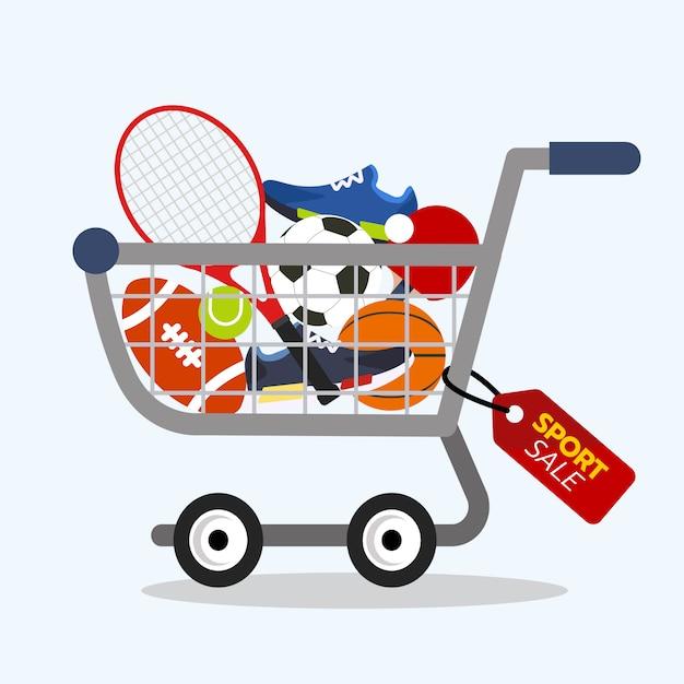 f122be8ea Conceito de compras online. venda de equipamentos de esporte com carrinho  de compras. Vetor