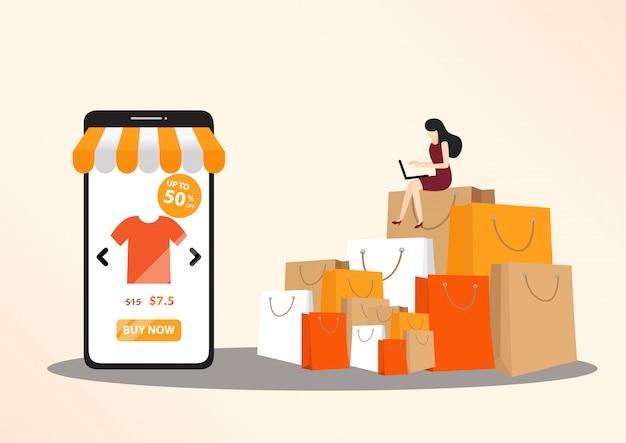 Conceito de compras online Vetor Premium