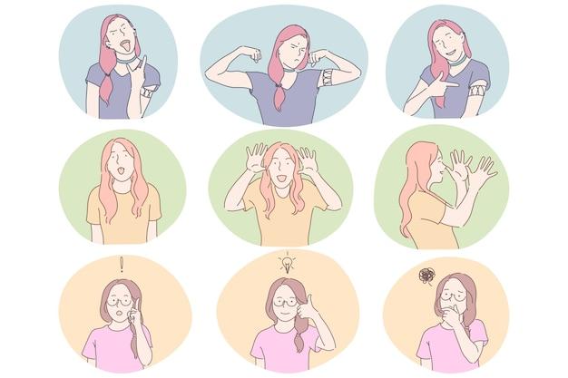 Conceito de comunicação de linguagem gestual, gestos, mãos e expressão facial. desenho de meninas Vetor Premium