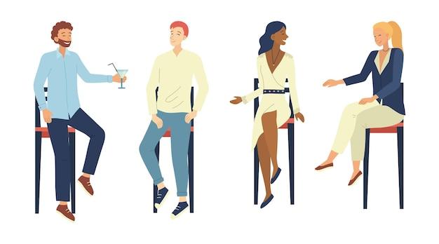 Conceito de comunicação de pessoas. grupo de pessoas tem um bom tempo se comunicando sentado em cadeiras de bar. personagens masculinos e femininos falando, bebendo coquetéis de álcool. ilustração em vetor plana dos desenhos animados. Vetor Premium