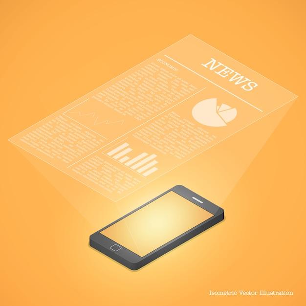 Conceito de comunicação de smartphone. notícias no smartphone. Vetor Premium